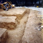 Digging trenches for aerobic septic system