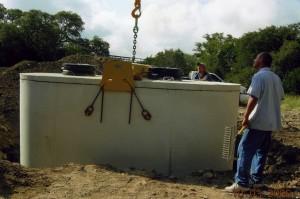 Aerobic septic system installation
